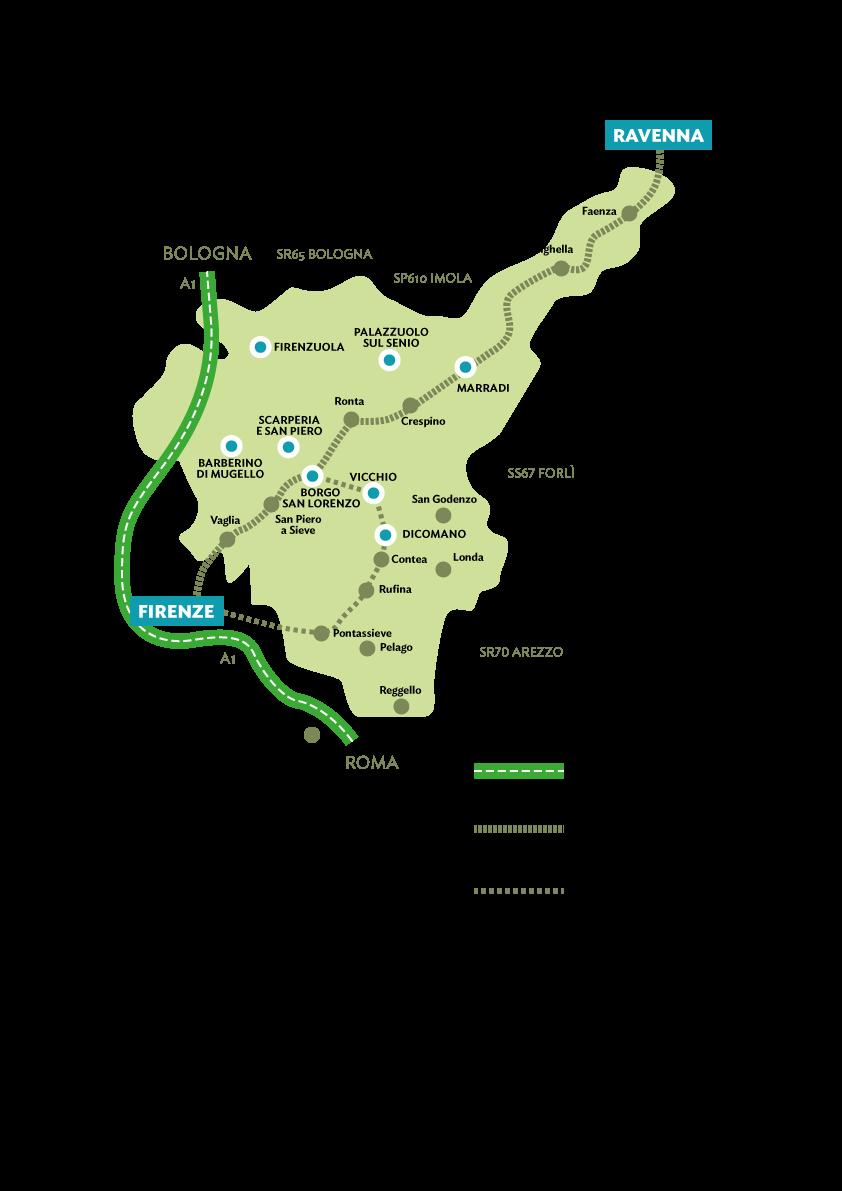 Cartina Ferroviaria Toscana.In Treno Ufficio Turismo Del Mugello
