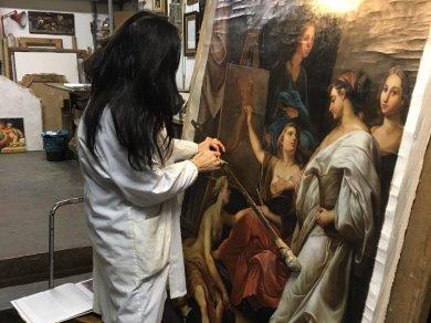 dipinto ispirato a batoni allegorie arti foto bottega